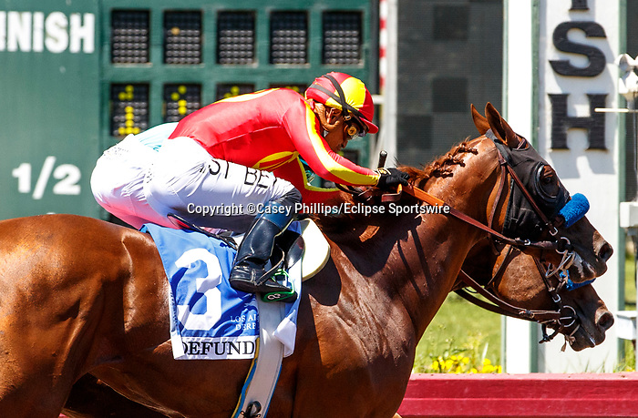 ARCADIA, CA  JULY 4:  #1 Classier, ridden by Mike Smith, holds on to win the Los Alamitos Derby (Grade lll) on July 4, 2021 at Los Alamitos Race Course in Los Alamitos, CA.  (Photo by Casey Pnillips/ Eclipse Sportswire/ CSM)