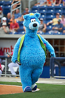 Pensacola Blue Wahoos mascot is bat boy during the first game of a double header against the Biloxi Shuckers on April 26, 2015 at Pensacola Bayfront Stadium in Pensacola, Florida.  Biloxi defeated Pensacola 2-1.  (Mike Janes/Four Seam Images)