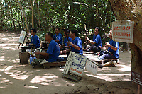 Angkor, Cambodia - 2007 File Photo -<br /> <br /> landmine victims playing music to support family at Angkor Wat<br /> <br /> Angkor Vat is a temple at Angkor, Cambodia, built for King Suryavarman II in the early 12th century as his state temple and capital city. The largest and best-preserved temple at the site, it is the only one to have remained a significant religious centre since its foundation—first Hindu, dedicated to Vishnu, then Buddhist. The temple is the epitome of the high classical style of Khmer architecture. It has become a symbol of Cambodia, appearing on its national flag, and it is the country's prime attraction for visitors.<br /> <br /> photo : James Wong-  Images Distribution