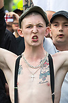 © Joel Goodman - 07973 332324 - all rights reserved . 03/06/2017 . Liverpool , UK . EDL supporters . Hundreds of police manage a demonstration by the far-right street protest movement , the English Defence League ( EDL ) and an demonstration by opposing anti-fascists , including Unite Against Fascism ( UAF ) . Photo credit : Joel Goodman