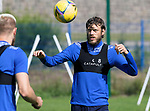 St Johnstone Training....   McDiarmid Park   10.08.21<br />Murray Davidson pictured during training this morning with Shaun Rooney ahead of Thursday's Europa League Qualfier against Galatasaray.<br />Picture by Graeme Hart.<br />Copyright Perthshire Picture Agency<br />Tel: 01738 623350  Mobile: 07990 594431