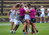 Action from the 2021 Takiwhitu Tuturu Sevens tournament match between Moana Pasifika and Black Ferns Sevens Invitational at Hataitai Park in Wellington, New Zealand on Friday, 9 April 2021. Photo: Dave Lintott / lintottphoto.co.nz