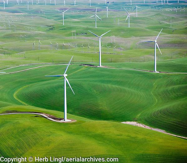 aerial photograph above,Shilo Wind Power Plant Solano County California