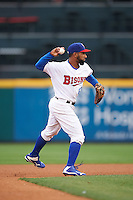 Buffalo Bisons second baseman Alexi Casilla (12) throws to first base during a game against the Durham Bulls on June 13, 2016 at Coca-Cola Field in Buffalo, New York.  Durham defeated Buffalo 5-0.  (Mike Janes/Four Seam Images)