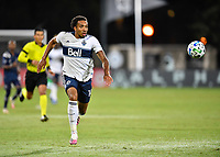 LAKE BUENA VISTA, FL - JULY 26: Theo Bair of Vancouver Whitecaps FC chase after a ball during a game between Vancouver Whitecaps and Sporting Kansas City at ESPN Wide World of Sports on July 26, 2020 in Lake Buena Vista, Florida.