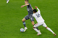 ST PAUL, MN - SEPTEMBER 27: Jan Gregus #8 of Minnesota United FC and Maikel Chang #16 of Real Salt Lake battle for the ball during a game between Real Salt Lake and Minnesota United FC at Allianz Field on September 27, 2020 in St Paul, Minnesota.
