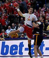 Rasmus Lauge Schmidt of Denmark (L) during men`s EHF EURO 2012 championship semifinal handball game between Denmark and Spain in Belgrade, Serbia, Friday, January 27, 2011.  (photo: Pedja Milosavljevic / thepedja@gmail.com / +381641260959)