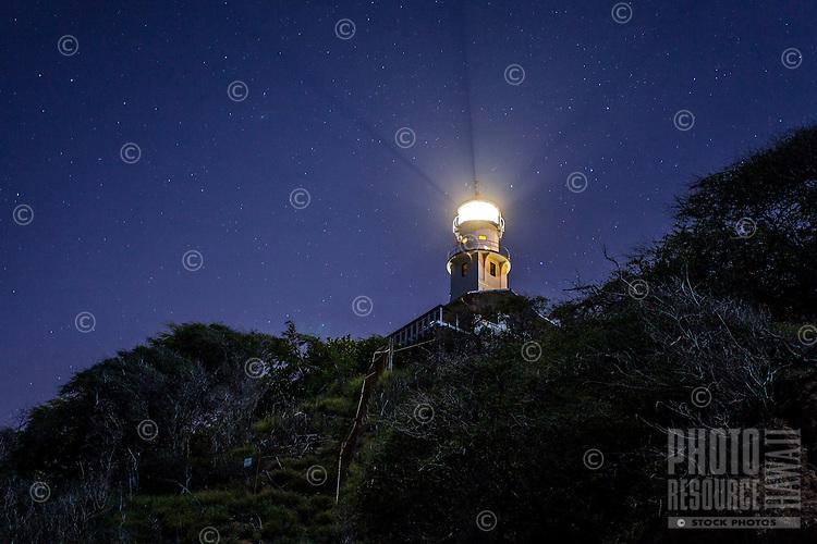 Diamond Head Lighthouse against starry night sky, East Honolulu, O'ahu.