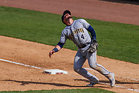 Burlington Bees first baseman Connor Fitzsimons (4) chases a pop up during a Midwest League game against the Wisconsin Timber Rattlers on April 28, 2019 at Fox Cities Stadium in Appleton, Wisconsin. Wisconsin defeated Burlington 5-4. (Brad Krause/Four Seam Images)