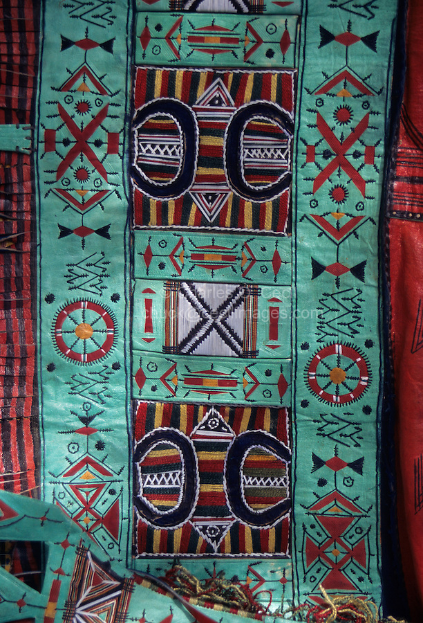 Akadaney, Central Niger, West Africa.  Tuareg Camel Bags, Decorative Leather Work, at Annual Fulani Gathering, Geerewol.