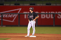 Arizona State University Sun Devils Trevor Hauver (18) stands on second base during an Instructional League game against the Texas Rangers at Surprise Stadium on October 6, 2018 in Surprise, Arizona. (Zachary Lucy/Four Seam Images)