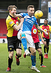 St Johnstone v Partick Thistle…11.02.17     Scottish Cup    McDiarmid Park<br />Steven MacLean battles with Niall Keown<br />Picture by Graeme Hart.<br />Copyright Perthshire Picture Agency<br />Tel: 01738 623350  Mobile: 07990 594431