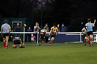 TRY - Louis Molloy of Richmond Rugby scores during the English National League match between Richmond and Blackheath  at Richmond Athletic Ground, Richmond, United Kingdom on 4 January 2020. Photo by Carlton Myrie.