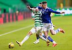 Celtic v St Johnstone…06.12.20   Celtic Park      SPFL<br />Diego Laxalt holds off Danny McNamaraand Michael O'Halloran<br />Picture by Graeme Hart.<br />Copyright Perthshire Picture Agency<br />Tel: 01738 623350  Mobile: 07990 594431