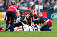 Japan Winger Akihito Yamada is treated after an injury - Mandatory byline: Rogan Thomson/ - 03/10/2015 - RUGBY UNION - Stadium:mk - Milton Keynes, England - Samoa v Japan - Rugby World Cup 2015 Pool B.