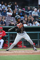 Luis Jean (3) of the Modesto Nuts bats against the Inland Empire 66ers at San Manuel Stadium on May 20, 2016 in San Bernardino, California. Inland Empire defeated Modesto, 4-2. (Larry Goren/Four Seam Images)