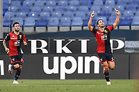 Edoardo Goldaniga of Genoa CFC celebrates after scoring the goal of 1-1 during the Serie A football match between Genoa CFC and SSC Napoli stadio Marassi in Genova ( Italy ), July 08th, 2020. Play resumes behind closed doors following the outbreak of the coronavirus disease. <br /> Photo Matteo Gribaudi / Image / Insidefoto