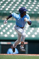 Tampa Bay Rays Lucius Fox (6) runs to first base during an Instructional League game against the Baltimore Orioles on October 2, 2017 at Ed Smith Stadium in Sarasota, Florida.  (Mike Janes/Four Seam Images)