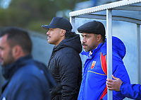 Rodney and James So'oialo watch from the Tawa dugout during the Wellington premier club rugby Swindale Shield match between Petone and Tawa at Petone Rec in Lower Hutt, New Zealand on Saturday, 29 August 2020. Photo: Dave Lintott / lintottphoto.co.nz