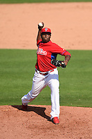 Philadelphia Phillies pitcher Hector Neris (50) during an exhibition game against the University of Tampa on March 1, 2015 at Bright House Field in Clearwater, Florida.  University of Tampa defeated Philadelphia 6-2.  (Mike Janes/Four Seam Images)