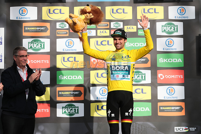 Race leader Maximilian Schachmann (GER) Bora-Hansgrohe retains the Yellow Jersey on the podium at the end of Stage 5 of the 78th edition of Paris-Nice 2020, running 227km from Gannat to La Cote-Saint-Andre, France. 12th March 2020.<br /> Picture: ASO/Fabien Boukla | Cyclefile<br /> All photos usage must carry mandatory copyright credit (© Cyclefile | ASO/Fabien Boukla)