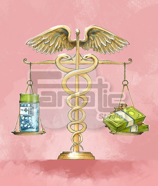 Illustrative image of medicine bottle and cash being measured in weighing machine