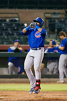 AZL Cubs left fielder Nelson Velazquez (20) celebrates after hitting a ninth inning home run against the AZL Giants on September 5, 2017 at Scottsdale Stadium in Scottsdale, Arizona. AZL Cubs defeated the AZL Giants 10-4 to take a 1-0 lead in the Arizona League Championship Series. (Zachary Lucy/Four Seam Images)