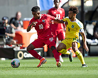 CLEVELAND, OH - JUNE 22: Edgar Barcenas #10 and Samuel Cox #8 contest the ball during a game between Panama and Guyana at FirstEnergy Stadium on June 22, 2019 in Cleveland, Ohio.