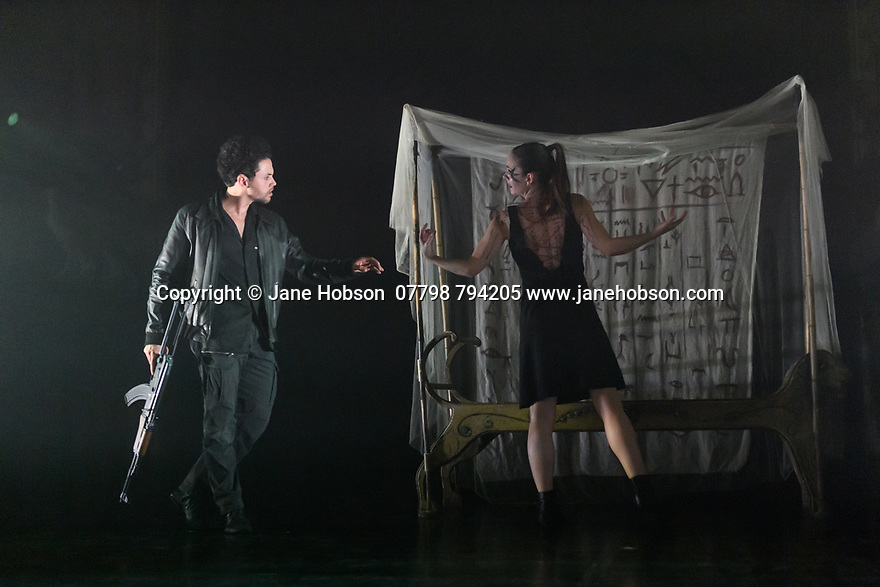 """London, UK. 27.02.20. Mark Bruce Company presents """"Return to Heaven"""", at Wilton's Music Hall. Written and choreographed by Mark Bruce, with costume design by Dorothee Brodruck, lighting design by Guy Hoare, and set design by Phil Eddolls. The dancers are: Jordi Calpe-Serrats, Eleanor Duval, Carina Howard, Dane Hurst, Sharol Mackenzie, Christopher Thomas. Picture shows: Dane Hurst, Eleanor Duval. Photograph © Jane Hobson."""