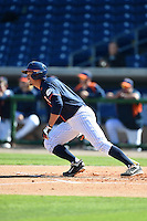 Cal State Fullerton Titans infielder Jake Jefferies (4) at bat during a game against the Alabama State Hornets on February 14, 2015 at Bright House Field in Clearwater, Florida.  Alabama State defeated Cal State Fullerton 3-2.  (Mike Janes/Four Seam Images)
