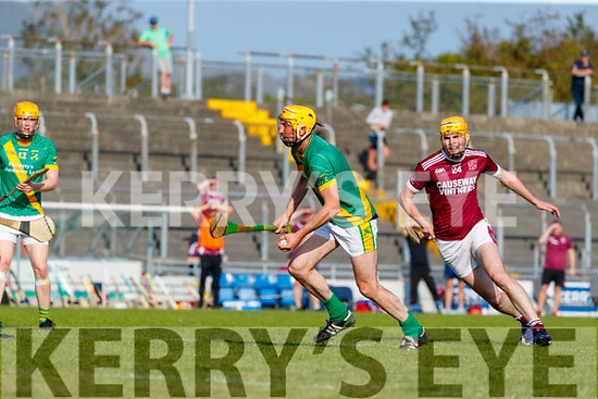Tom Murnane, Kilmoyley in action against Sean Leahy, Causeway during the Kerry County Senior Hurling Championship Final match between Kilmoyley and Causeway at Austin Stack Park in Tralee