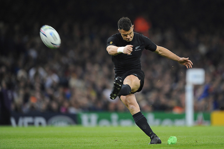 Dan Carter of New Zealand takes his first conversion kick of the night during Match 23 of the Rugby World Cup 2015 between New Zealand and Georgia - 02/10/2015 - Millennium Stadium, Cardiff<br /> Mandatory Credit: Rob Munro/Stewart Communications