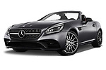 Stock pictures of low aggressive front three quarter view of a 2018 Mercedes Benz SLC Sportline 2 Door Convertible