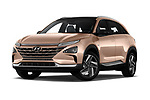 Stock pictures of low aggressive front three quarter view of 2019 Hyundai Nexo Limited 5 Door SUV Low Aggressive