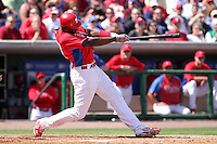 Philadelphia Phillies first baseman John Mayberry #15 at bat during a spring training game against the Houston Astros at Bright House Field on March 7, 2012 in Clearwater, Florida.  (Mike Janes/Four Seam Images)
