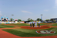 Chattanooga Lookouts field view during the national anthem before a game against the Birmingham Barons on April 17, 2013 at AT&T Field in Chattanooga, Tennessee.  Chattanooga defeated Birmingham 5-4.  (Mike Janes/Four Seam Images)