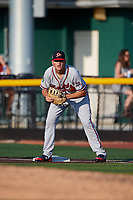 Danville Braves first baseman Griffin Benson (16) during a game against the Johnson City Cardinals on July 29, 2018 at TVA Credit Union Ballpark in Johnson City, Tennessee.  Johnson City defeated Danville 8-1.  (Mike Janes/Four Seam Images)