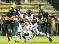 Jackson Woods (1) of Fayetteville runs the ball against Bentonville at Tigers Stadium, Bentonville, Arkansas on Friday, October 16, 2020 / Special to NWA Democrat-Gazette/ David Beach
