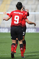 Jessica Sigworth (Manchester United Women) celebrates after scoring during the English Womens Championship match between Manchester United Women and Leicester City Women at Leigh Sports Village, Leigh, England on 10 March 2019. Photo by James Gill / PRiME Media Images.