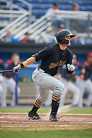 West Virginia Black Bears left fielder Austin Meadows (52) follows through on a swing during a game against the Batavia Muckdogs on August 7, 2017 at Dwyer Stadium in Batavia, New York.  West Virginia defeated Batavia 6-3.  (Mike Janes/Four Seam Images)