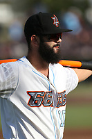 Jordan Serena (10) of the Inland Empire 66ers warms up before a game against the Rancho Cucamonga Quakes at San Manuel Stadium on July 29, 2017 in San Bernardino, California. Inland Empire defeated Rancho Cucamonga, 6-4. (Larry Goren/Four Seam Images)