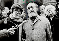 1985 FILE PHOTO - ARCHIVES -<br /> <br /> Judy Rebick (L) and<br /> Henry Morgentaler (R)<br /> <br /> 1985<br /> <br /> PHOTO :  Erin Comb - Toronto Star Archives - AQP