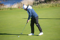 1st October 2021; Kingsbarns Golf Links, Fife, Scotland; European Tour, Alfred Dunhill Links Championship, Second round; Tyrrell Hatton of England putts out