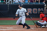 Anthony Volpe (5) of the Hudson Valley Renegades follows through on his swing against the Aberdeen IronBirds at Leidos Field at Ripken Stadium on July 23, 2021, in Aberdeen, MD. (Brian Westerholt/Four Seam Images)