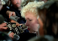 FILE -  La Premiere Ministre Canadienne  Kim Campbell en entrevue avec Julie Snyder , le 2 aout 1993, au marche jean-Talon.<br /> <br /> <br /> PHOTO  :  Agence Quebec Presse