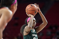 COLLEGE PARK, MD - FEBRUARY 03: Nia Clouden #24 of Michigan State at the free throw line during a game between Michigan State and Maryland at Xfinity Center on February 03, 2020 in College Park, Maryland.