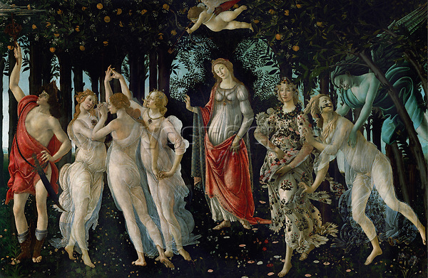 La Primavera (Frühling). Tempera-Malerei. 1477 Uffici, Florenz, Italien Künstler: Sandro Botticelli<br /> <br /> - 01.01.1477-31.12.1477<br /> <br /> La Primavera (Spring). Tempera on wood. 1477. 203 x 314 cm. Inv. 8360<br /> <br /> - 01.01.1477-31.12.1477