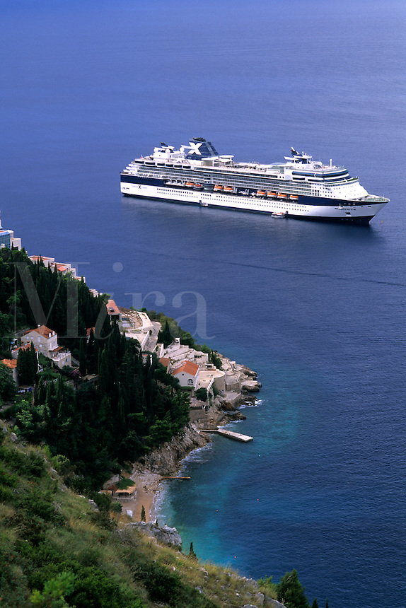 Croatia beautiful coast Celebrity X cruise ship off Dubrovnik Croatia