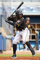 FCL Pirates Black Luis Tejeda (35) bats during a game against the FCL Rays on August 3, 2021 at Charlotte Sports Park in Port Charlotte, Florida.  (Mike Janes/Four Seam Images)