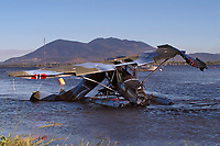 A floatplane damaged on takeoff at the 2019 Clear Lake Seaplane Splash-In, Lakeport, Lake County, California